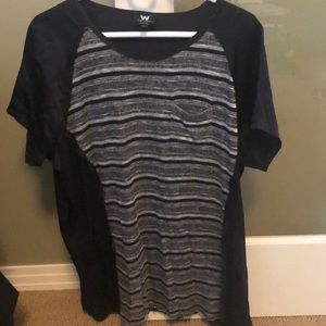 W by Worth tunic top shirt LARGE striped 100% silk